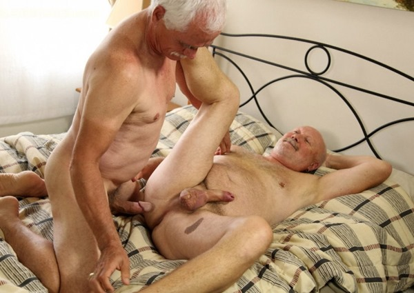 Senior men having sex